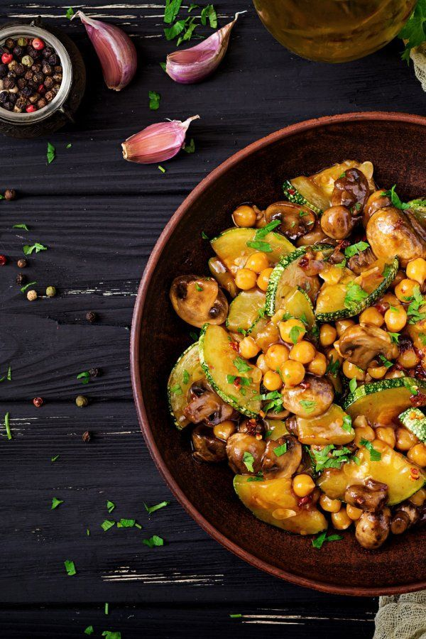 Photo of Oriental vegetable pan with zucchini and chickpeas