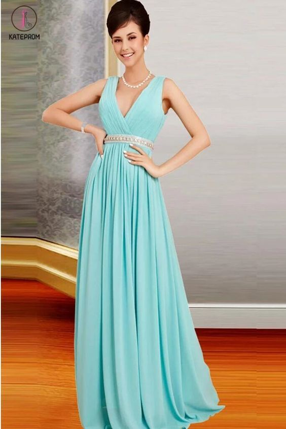 Deep V-neck Simple Chiffon Long Open Back Prom Dresses KPP0038