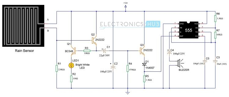 Schematic Of Rain Sensor Circuit