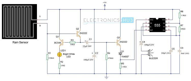 rain detector electronic circuit project