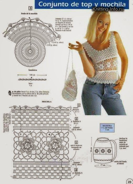 All crochet: Youth set of top and backpack | tejiendo | Pinterest ...