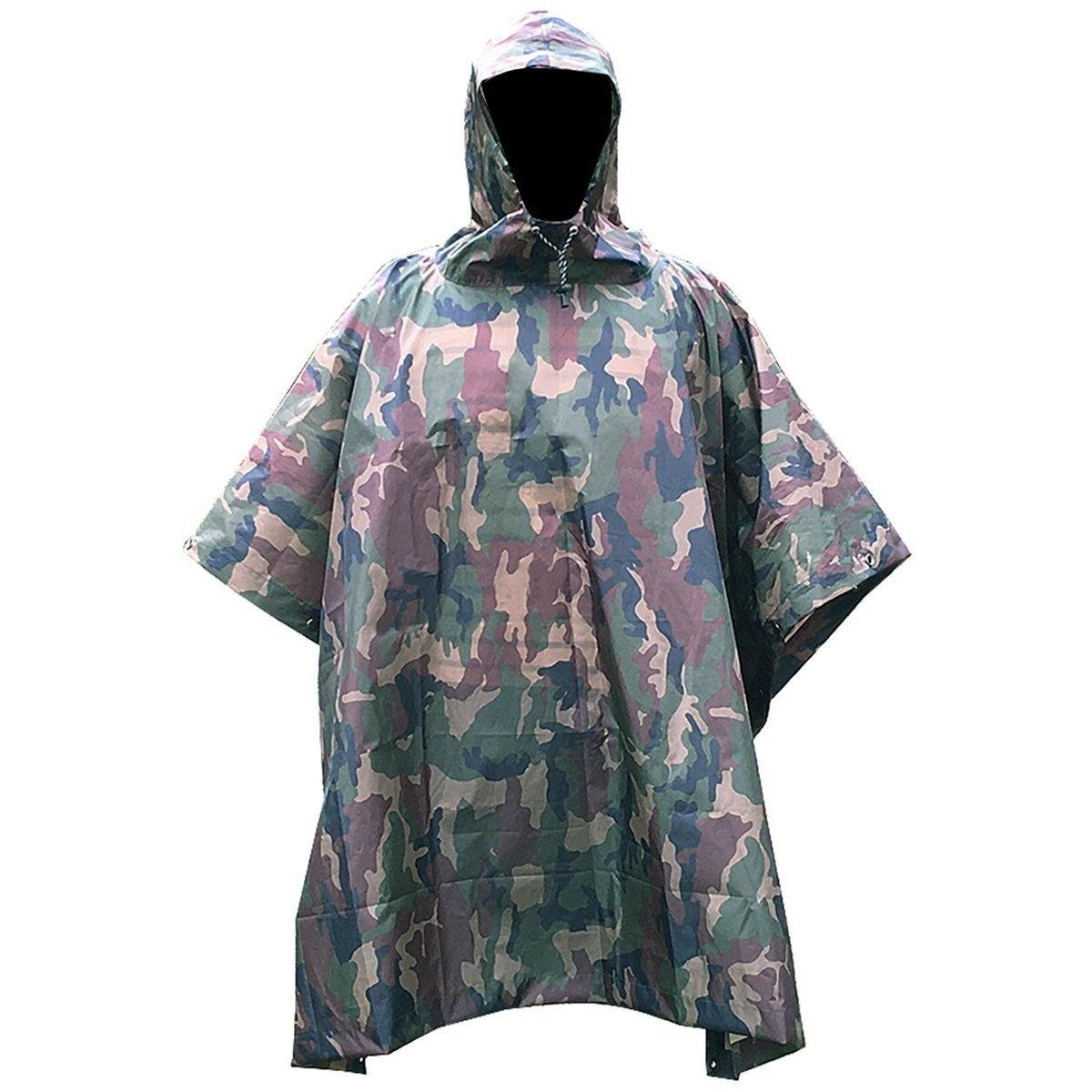 Camouflage Rain Coat Travel Hoodie Waterproof Poncho Hiking Survival Shelter