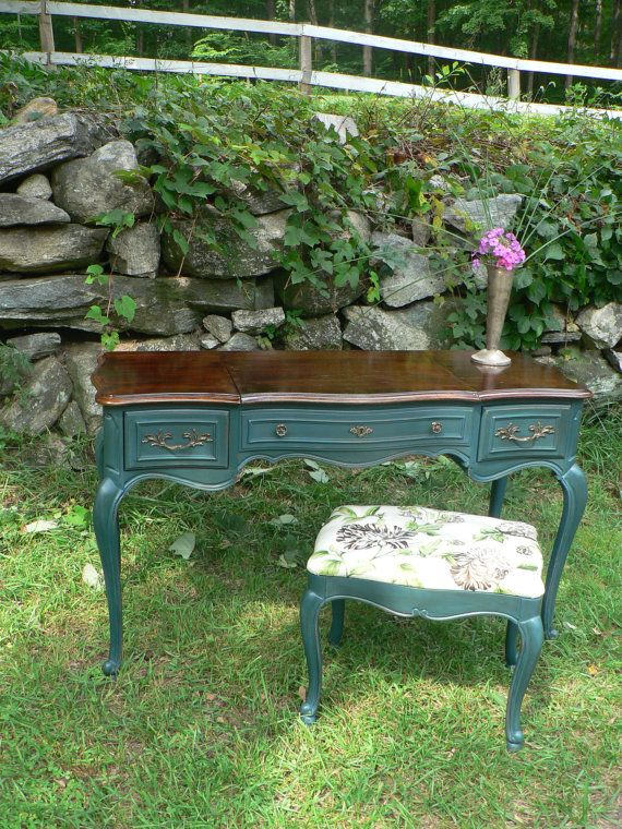 Vintage queen anne BLUE PEACOCK mahogany french provencial style desk VANITY stool