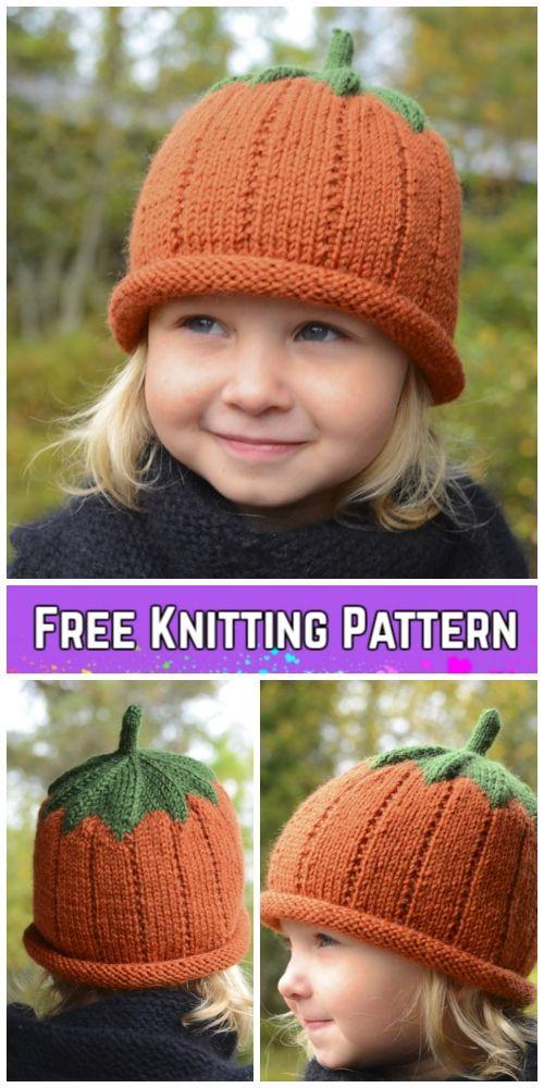 fc5ec768b5e0 Knit Pumpkin Hat Free Knitting Patterns