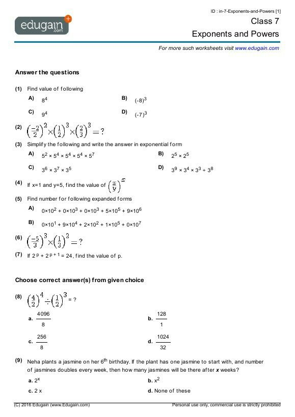 Pin By Faizal On Education Ideas Grade 7 Math Worksheets Exponent Worksheets Mathematics Worksheets