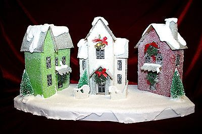 Putz Style Light-Up Winter Christmas Village Three Houses With Lights Display