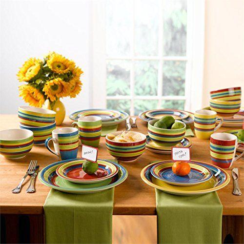 Brylanehome Santa Fe Hand Painted Striped Stoneware Dinnerware Brylanehome Http Www Amazon Com Dp B006w8tfi Dinnerware Stoneware Dinnerware Fiesta Dinnerware