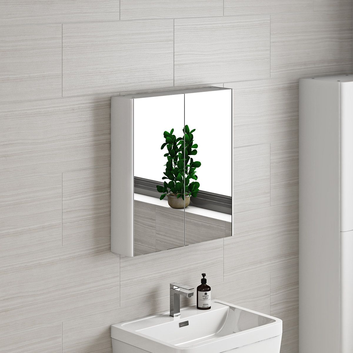 Mode white curved mirror cabinet 600mm | Mirror cabinets and ...