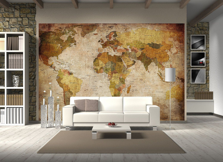 Great Art Vintage Weltkarte Wanddekoration Wandbild Retro Motiv Xxl Poster Weltkarte Leinwand Fototapete Wandtapete