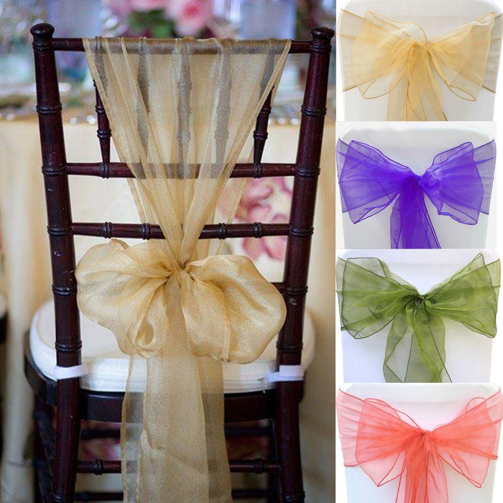 100pcs 28 Colors Organza Chair Sashes Bow Cover Wedding Party Banquet Decoration