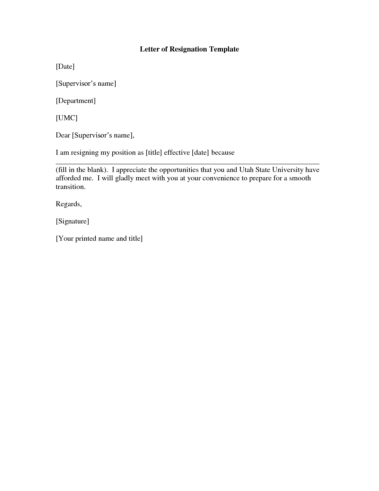Printable Sample Letter of Resignation Form – Formal Letter of Resignation