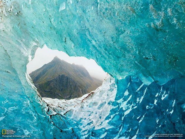 Wallpaper Blick durch den Gletscher