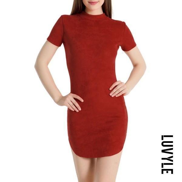 03eda4bdd Luvyle -  Luvyle Band Collar Asymmetric Hem Plain Bodycon Dresses ...