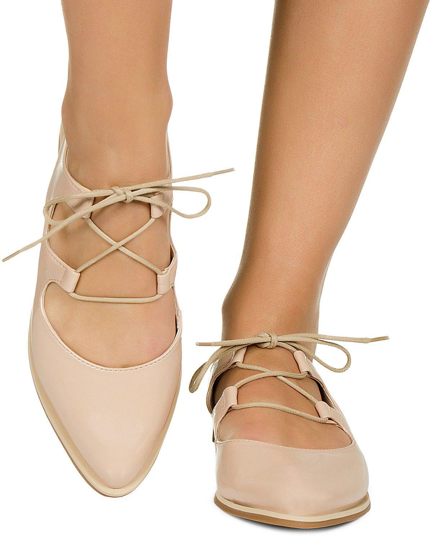 9898f310b6 Sapato Oxford Aberto Nude Verniz Taquilla - Taquilla - Loja online de  sapatos…