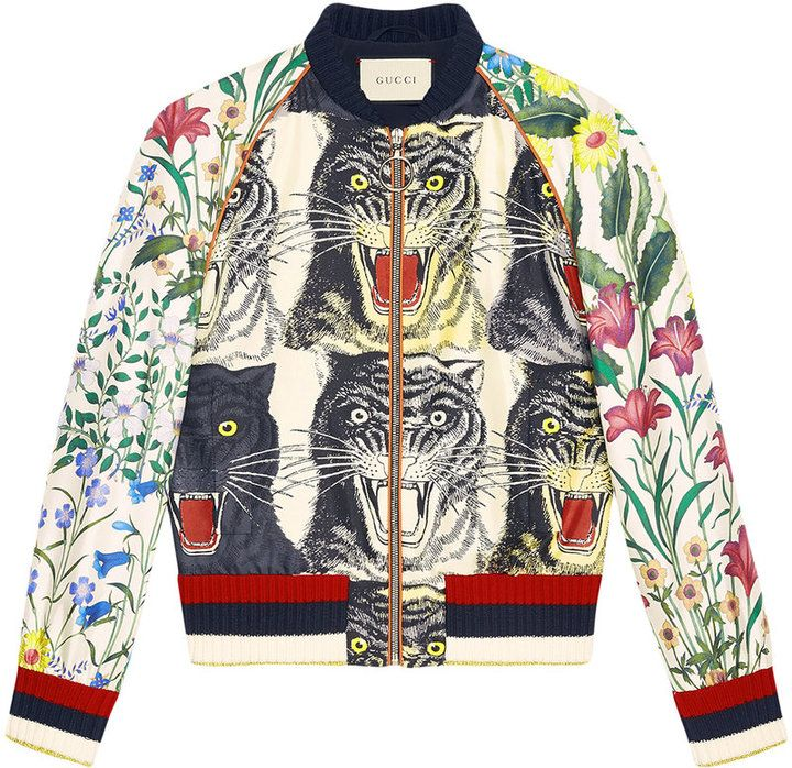 e006ba155 Gucci Patchwork print silk bomber | Things to wear | Silk bomber ...