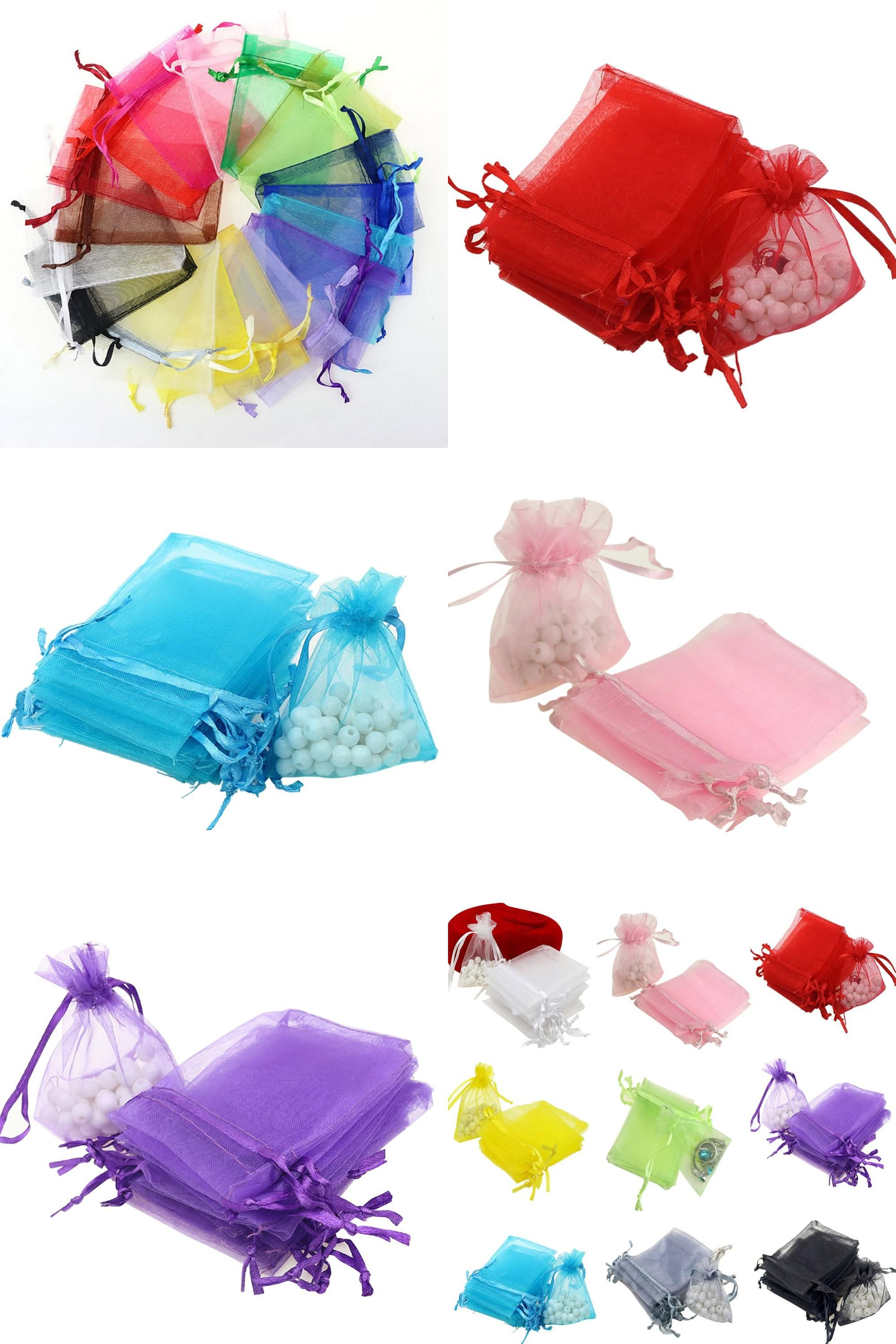 Wholesale 50PCS Drawstring Organza Voile Jewelry Favour Wedding Gift Pouch Bags