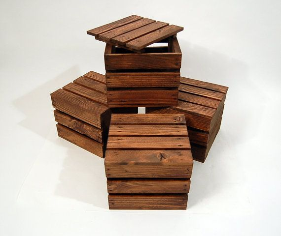 Four Wood Gift Crates / Gift Boxes with Lids by PotterybyDan ...