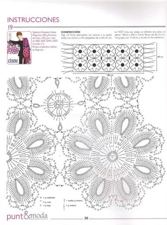 Chal Crochet Flores Gigantes - Patrones Crochet | Lugares para ...