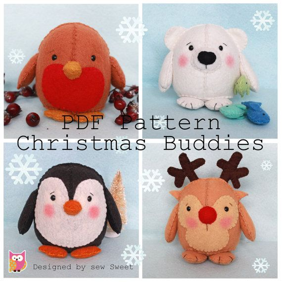 Christmas Buddies pdf pattern instant download by sewsweetuk