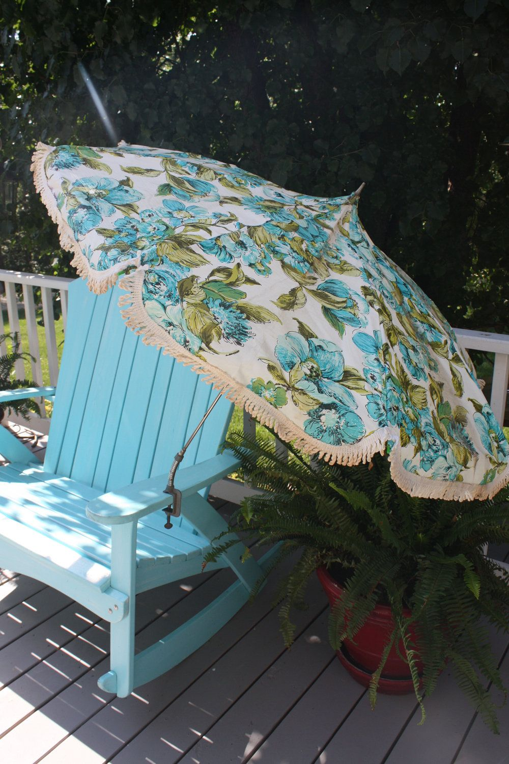 Vintage Mid Century Modern Patio Umbrella Portable For Table Or Chair