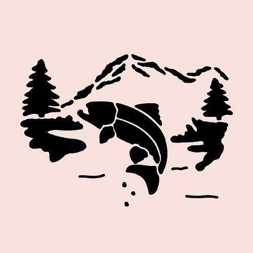 Trout stencil fish mountain pine tree trees stencils river