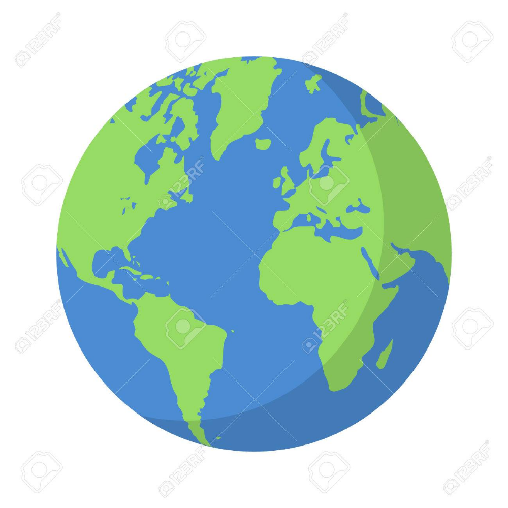 Planet Earth Or World Globe With Oceans And Water Flat Vector Earth Drawings Globe Drawing Earth Illustration