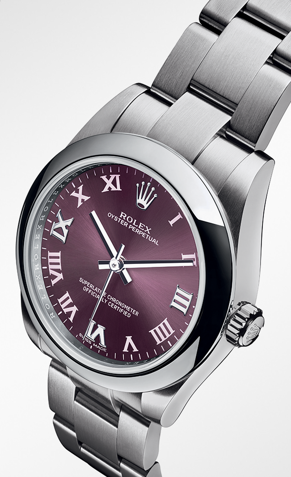 07e3d021756e Rolex Oyster Perpetual 31mm in Oystersteel with a domed bezel, red grape  dial, roman-numeral hour markers and an Oyster bracelet.
