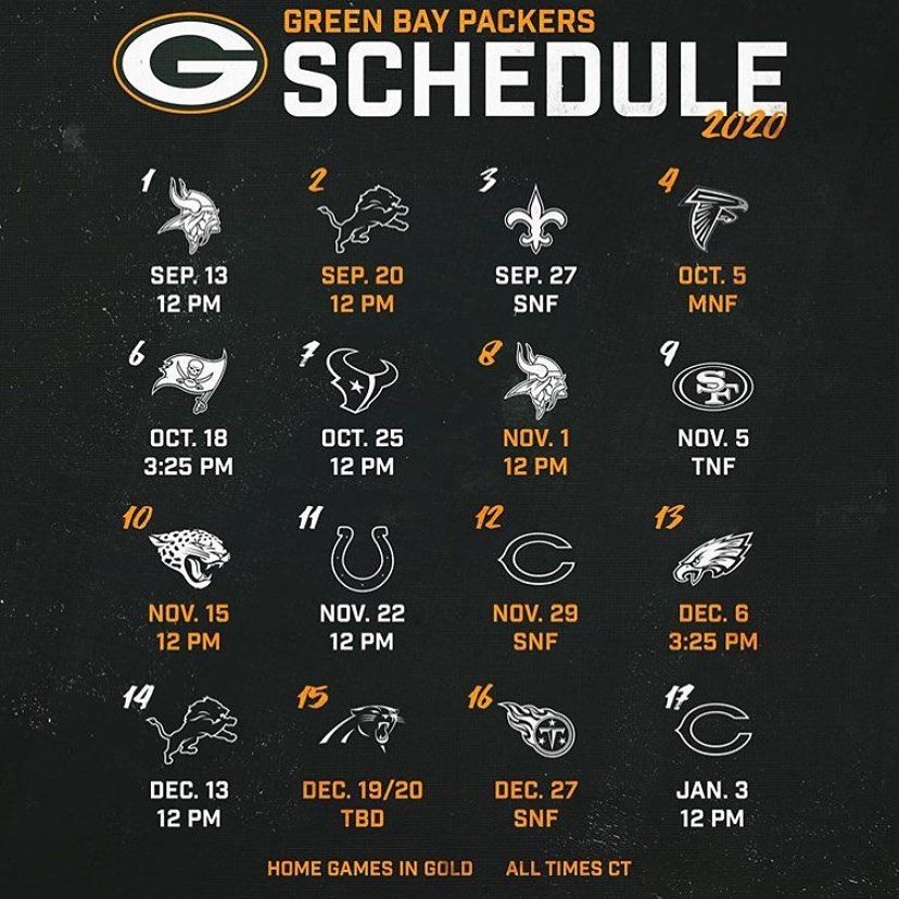Everything Packers Est 8 16 14 On Instagram Photo Credit Thepackerpage Here S The 2020 21 Schedule Drop Those Record Predi In 2020 Packers Predictions Go Pack Go