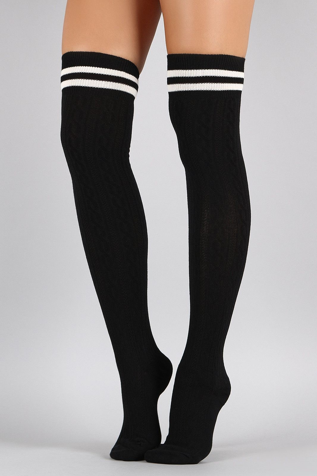 0a2ccaa55 Double Stripe Textured Thigh High Socks Roupa Rosa