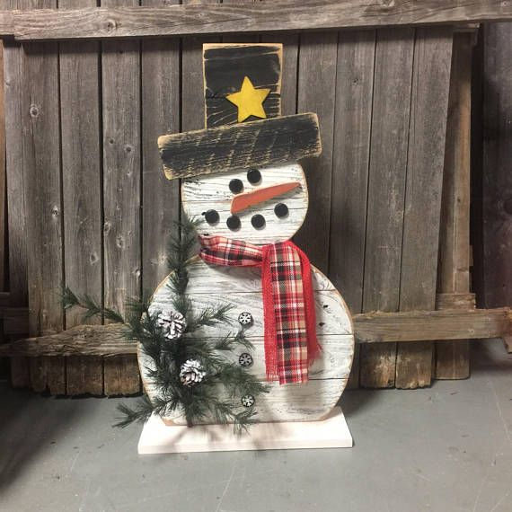 Reclaimed Wood Snowman 31 inch Snowman Reclaimed Wood, Front Porch - outdoor snowman christmas decorations