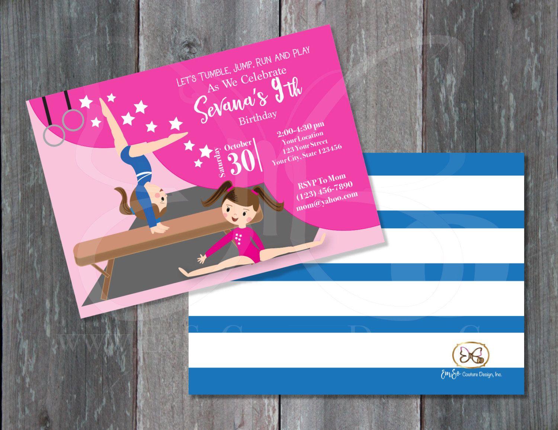 Printable Invitation/Gymnastics Party/Gymnastics Invitation/Girl ...