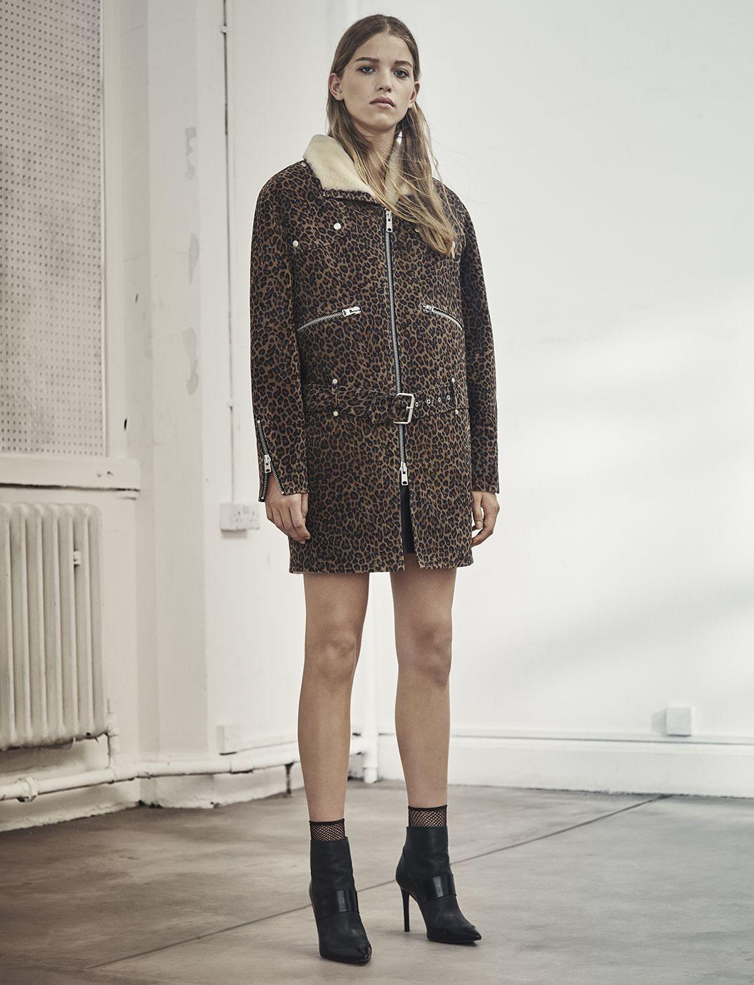 AllSaints Women's October Lookbook Look 8: Leopard Collins Suede Coat,  Xavier Heel Boot.