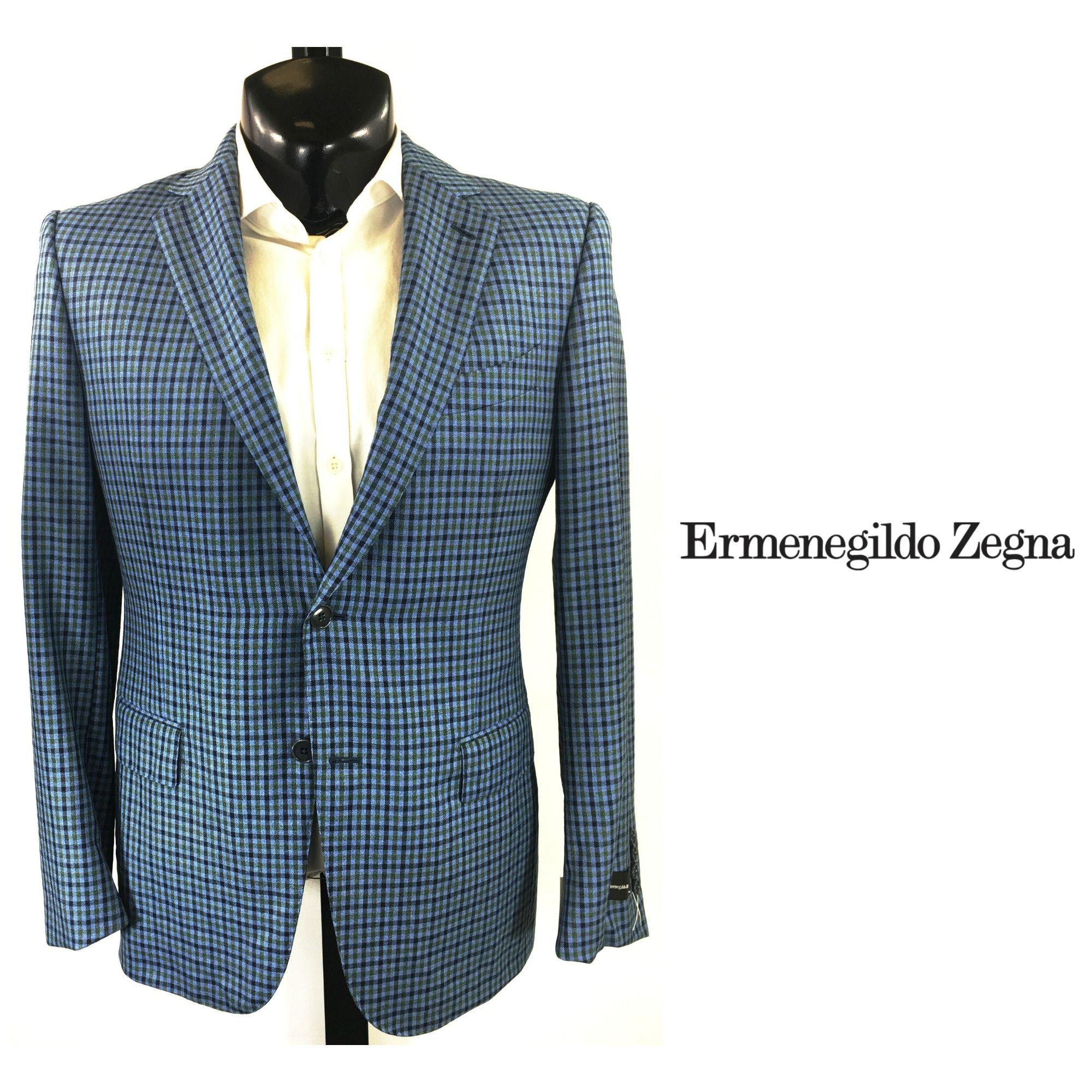 3a57b96c04 Ermenegildo Zegna Blue Checked Sport Coat   IT 50S in 2019   FLIP ...