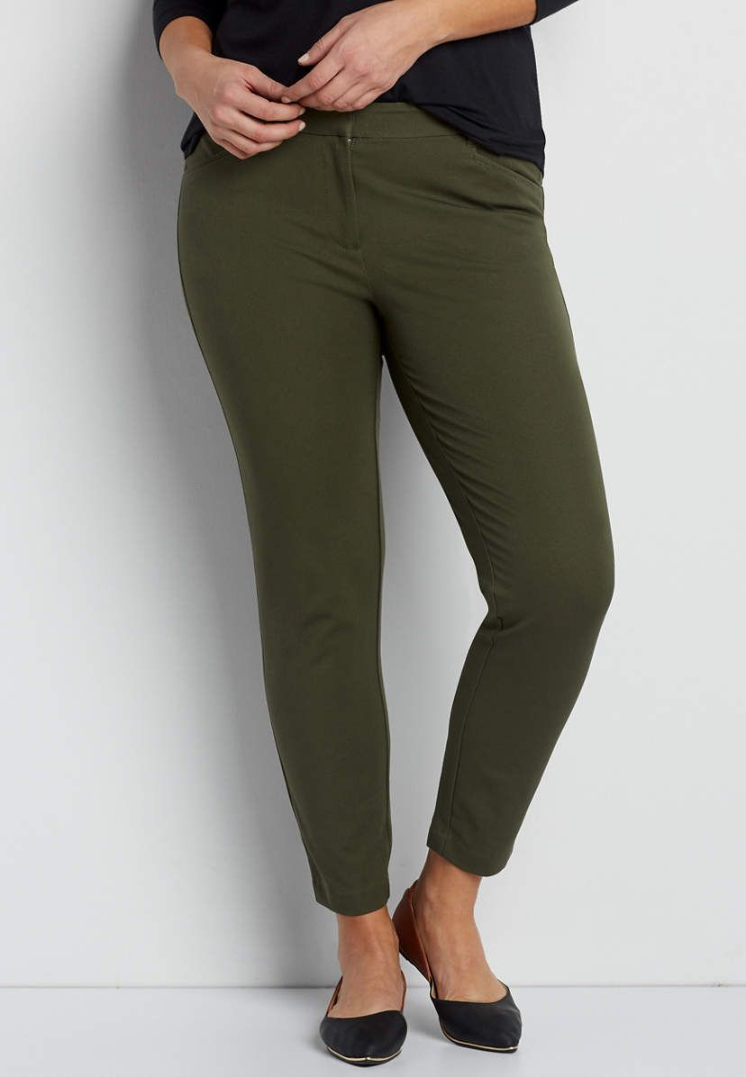 73acdd01072 the smart plus size bi-stretch skinny ankle pant in olive