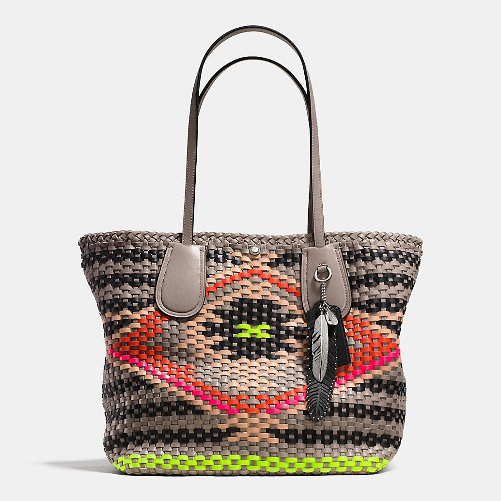 a1666d445a ... COACH TAXI TOTE IN WOVEN LEATHER--more of Southwest vibe than I usually  go Black ...