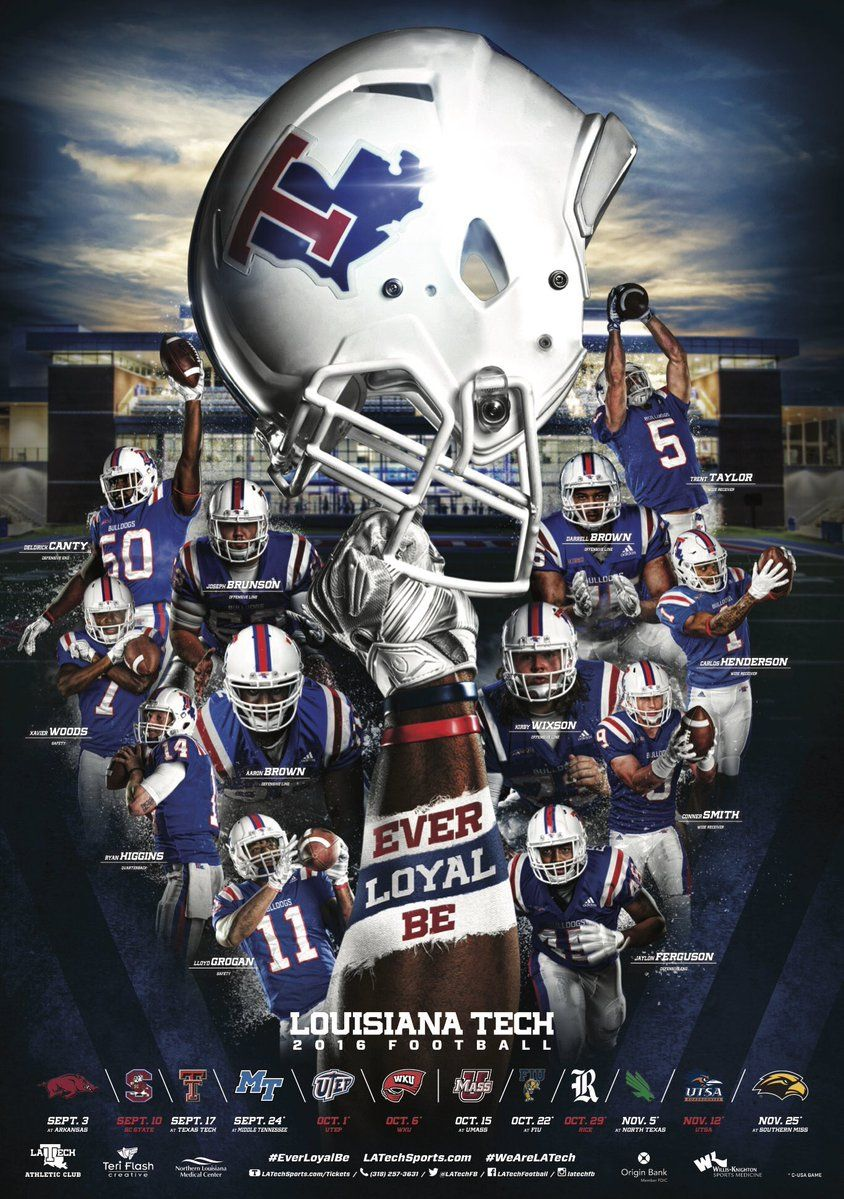 2016 Louisiana Tech Football Poster Sports graphic