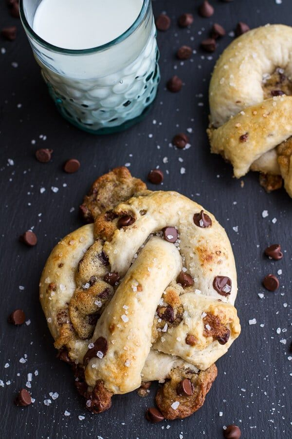 Warm chocolate Chip Cookie Stuffed Soft Pretzels