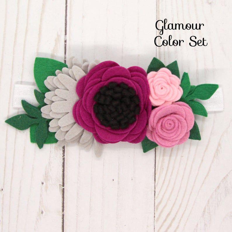 Wool Blend Felt Flowers | Felt Flower Headband Kit | Bella | Makes 1 Floral Crown | Choose a color set | DIY #feltflowerheadbands