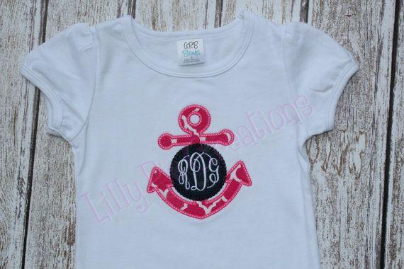 Nautical girls applique shirt nautical girl birthday anchor