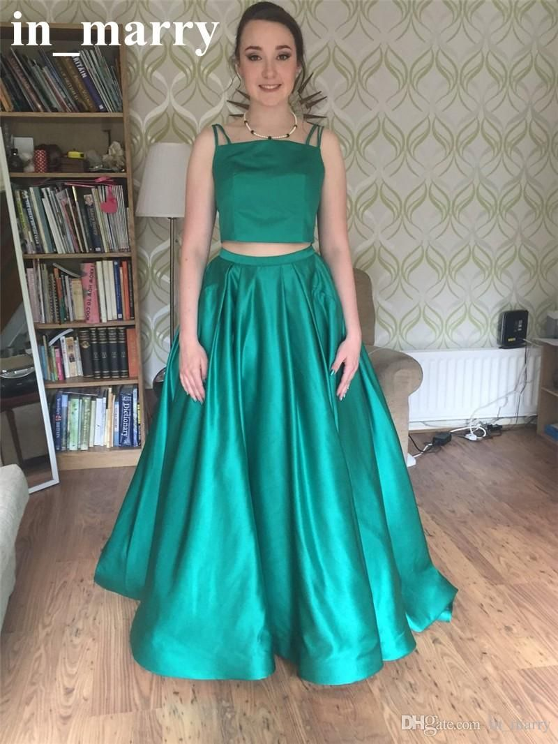 Two Pieces Cheap Simple 2K17 Prom Dresses with Pockets A Line Plus ...