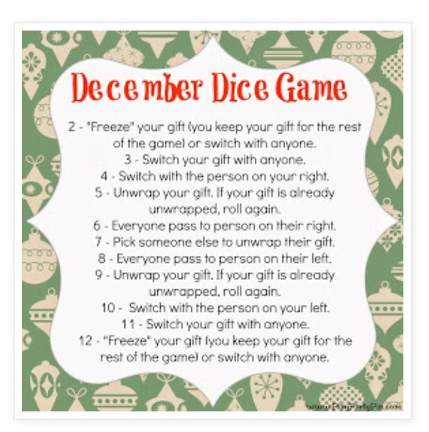 Christmas Exchange Dice Game Christmas Gift Exchange Games Christmas Gift Exchange Christmas Games