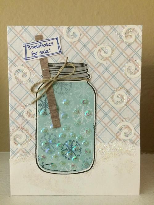 Mason jar handmade greeting cards snowflakes for sale make this mason jar handmade greeting cards snowflakes for sale make this adorable winter themed card using our step by step tutorial m4hsunfo