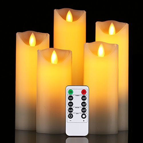 """Flameless Candles Da by 5/"""" 6/"""" 7/"""" 8/"""" 9/""""Set of 5 Realistic Dancing LED Flickering"""