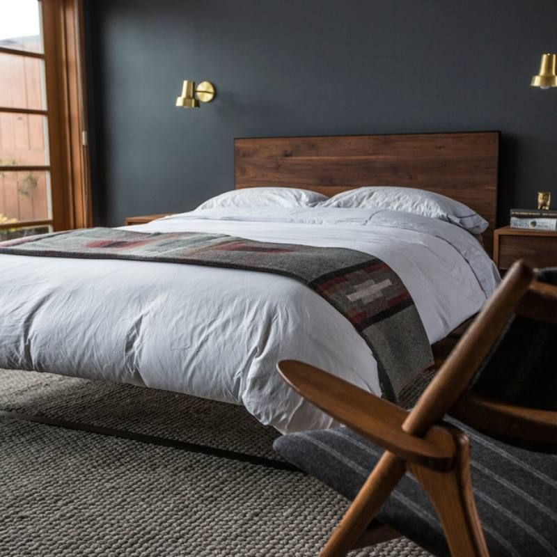 Masculine Master Bedroom: Room Redo: Dark Masculine Bedroom Look With Slate Walls In