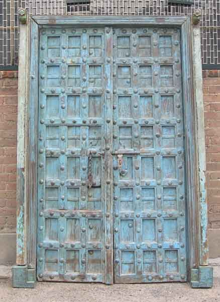 Indo-Portuguese Painted Teak Clavos Door with Frame - Indo-Portuguese Painted Teak Clavos Door With Frame Make A