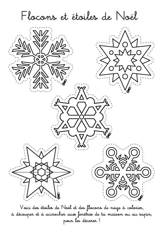 Voici des étoiles de Noël et des flocons de neige à colorier, à