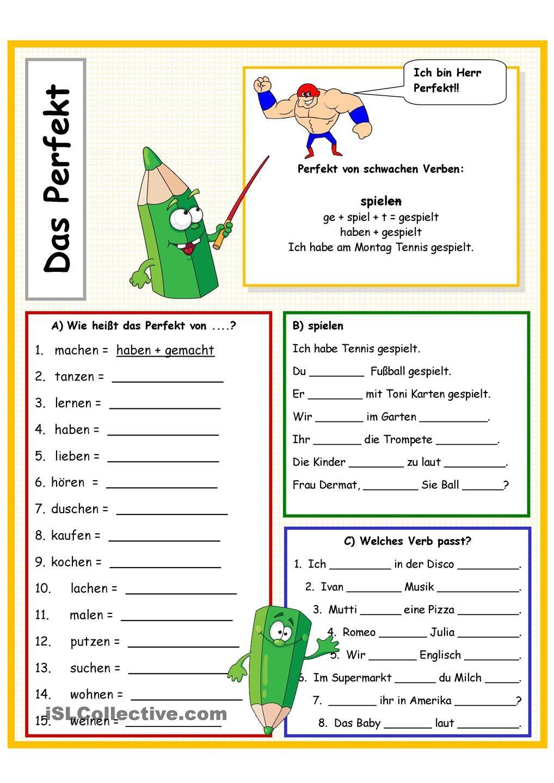 Perfekt von schwachen Verben | Student-centered resources ...