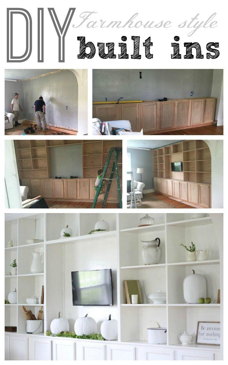Farmhouse Living Room Built Ins Farmhouse Style Living Room Farmhouse Style Diy Built In Bookcase
