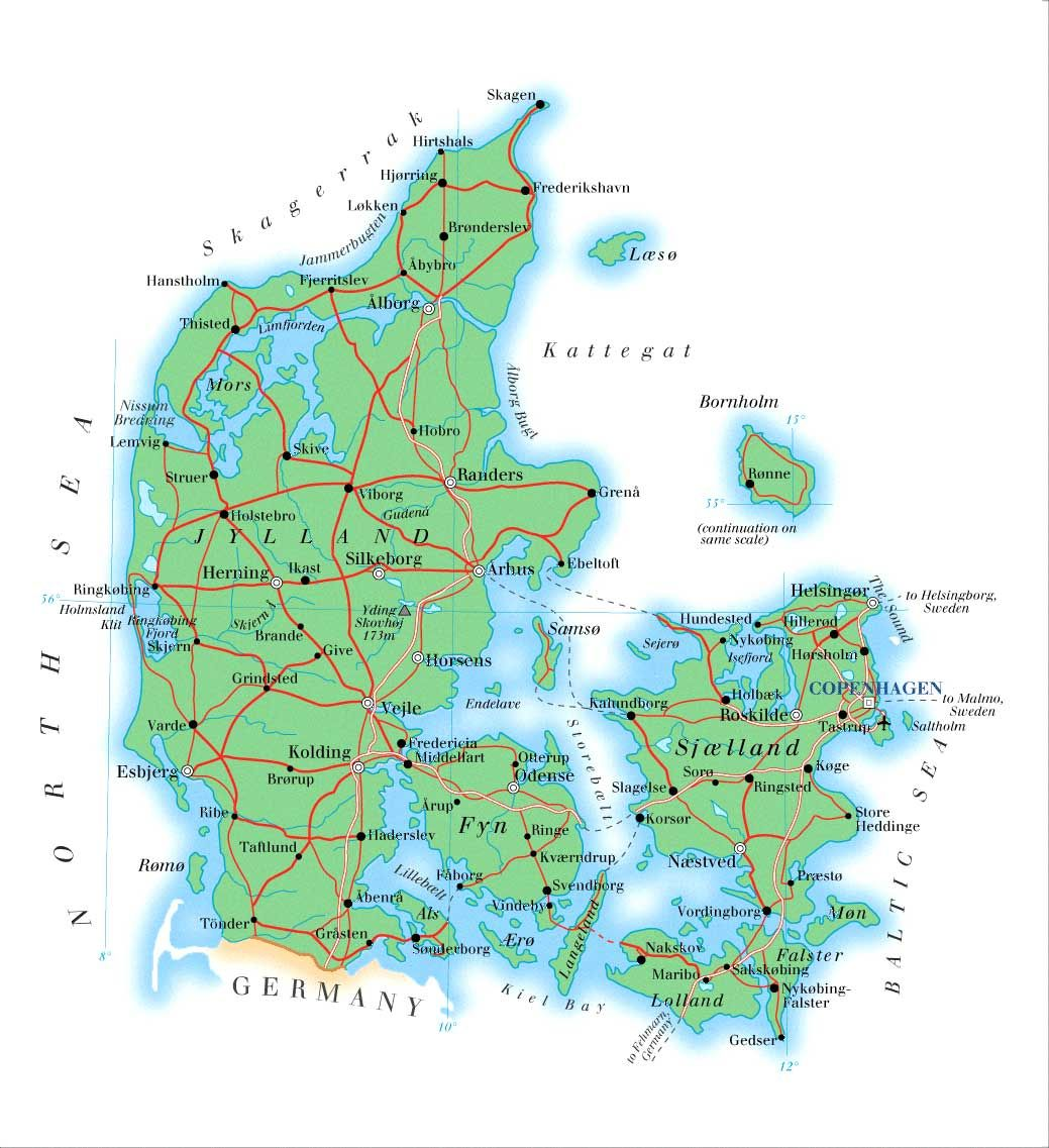 Detailed Physical Map Of Denmark With Roads Cities And Airports Vidiani Com Maps Of All Countries In One Place Denmark Map Denmark Map