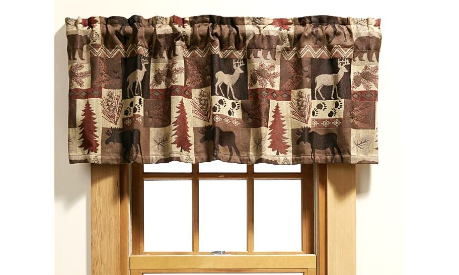 Deer Moose Bear Tapestry Valance Summit Cabin Camp Hunting Lodge Curtains Bedfordmanor Lodge Hunting Lodge Valance Curtains